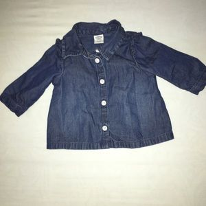 Baby girl dark chambray button down 0-3 months